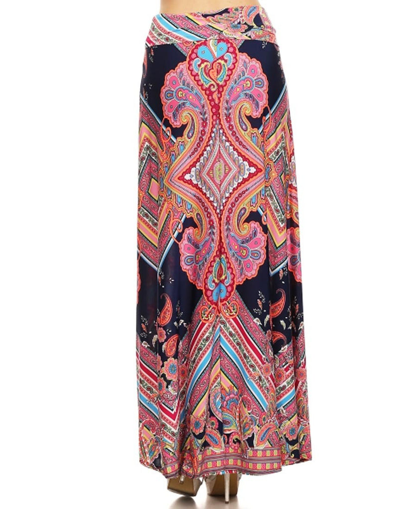 Greek Diamond Bust Paisley Maxi Skirt Pink