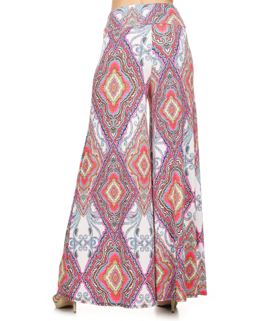 Baroque Geometric Diamond Palazzo Pants Lavender Pink