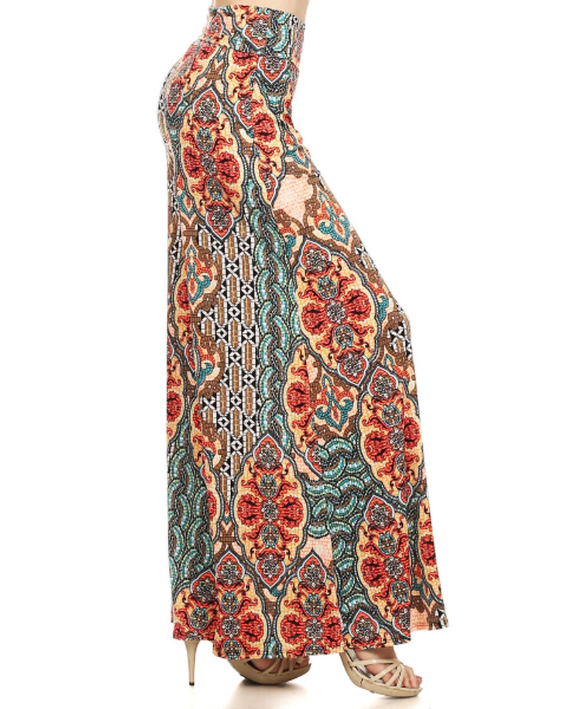 Charlize Mosaic Wall Patterned Palazzo Pants Coral Yellow Orange Blue