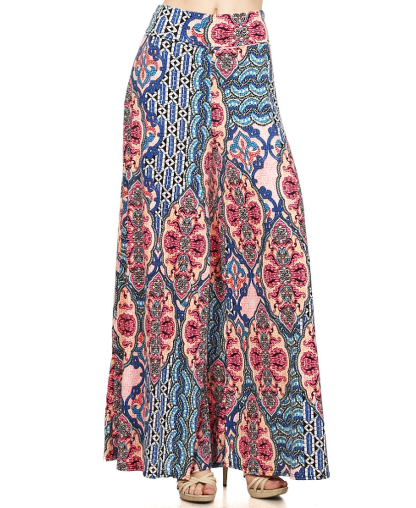 Charlize Mosaic Wall Patterned Palazzo Pants Pink Blue White Black