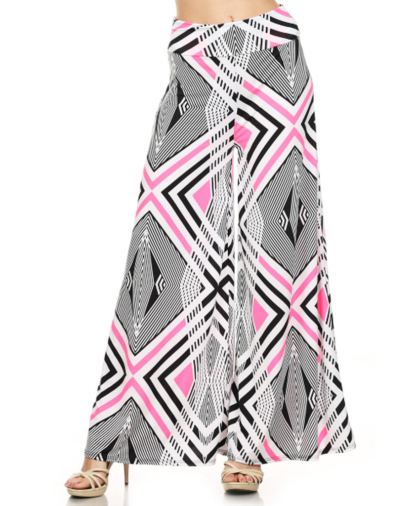 Trendy Geometric Chevron Striped Palazzo Pants White/Black/Pink
