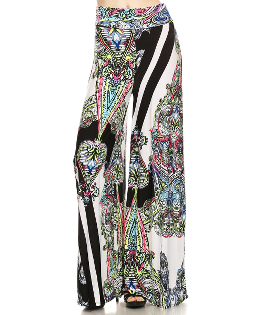 Highlights and Stripes Patterned Palazzo Pants Pink White