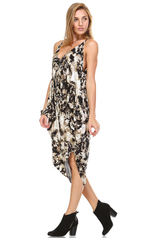 Jumpsuit Romper Cute Tie Dye Tan Brown Black