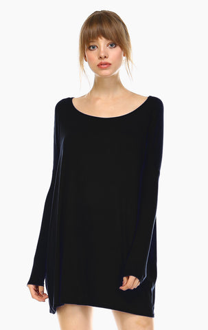 Tunic Top Casual Dress Oversized Round Neck Long Sleeve Black