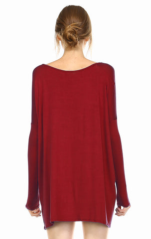 Tunic Top Casual Dress Oversized Round Neck Long Sleeve Burgundy