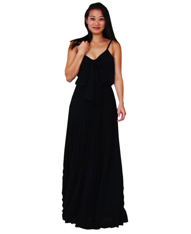 Bow Tie Chest Ruffle Maxi Dress Black