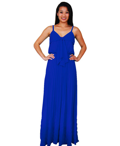 Bow Tie Chest Ruffle Maxi Dress Blue