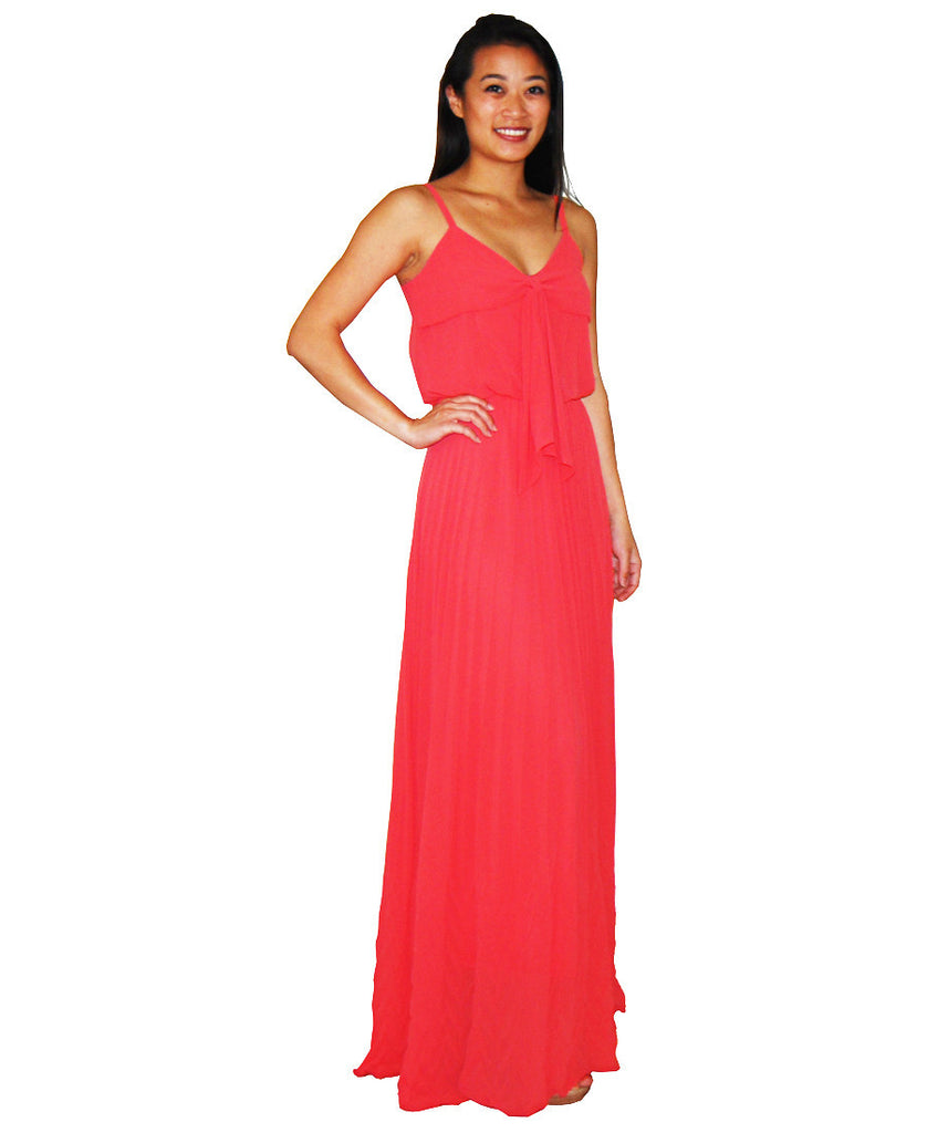 Bow Tie Chest Ruffle Maxi Dress Coral