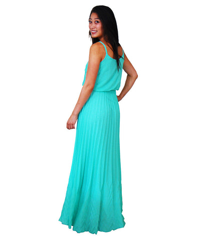 Bow Tie Chest Ruffle Maxi Dress Turquoise Teal
