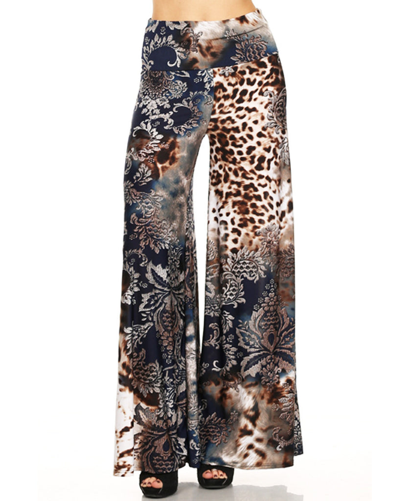 Beautiful and Modern Leopard Paisley Splash Navy Brown Palazzo Pants