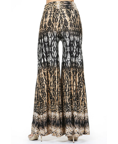 Tan Taupe Brown Black Python Snake Skin Palazzo Pants
