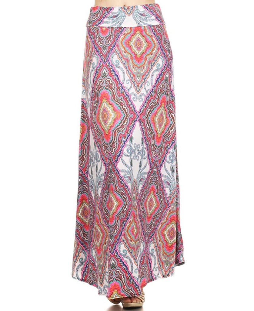 Baroque Paisley Diamond Pattern Maxi Skirt