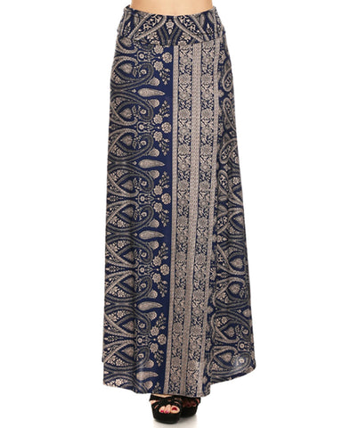 Catalina Paisley Stripes Floral Maxi Skirt Navy Beige