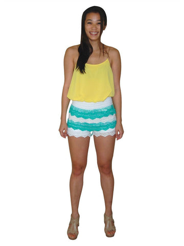 White Aqua Lace Scalloped Shorts