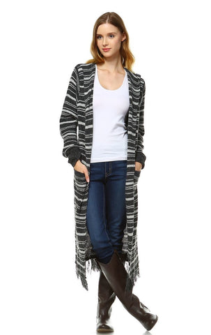 Long Cardigan Sweater Striped Hoodie Hood Charcoal Gray