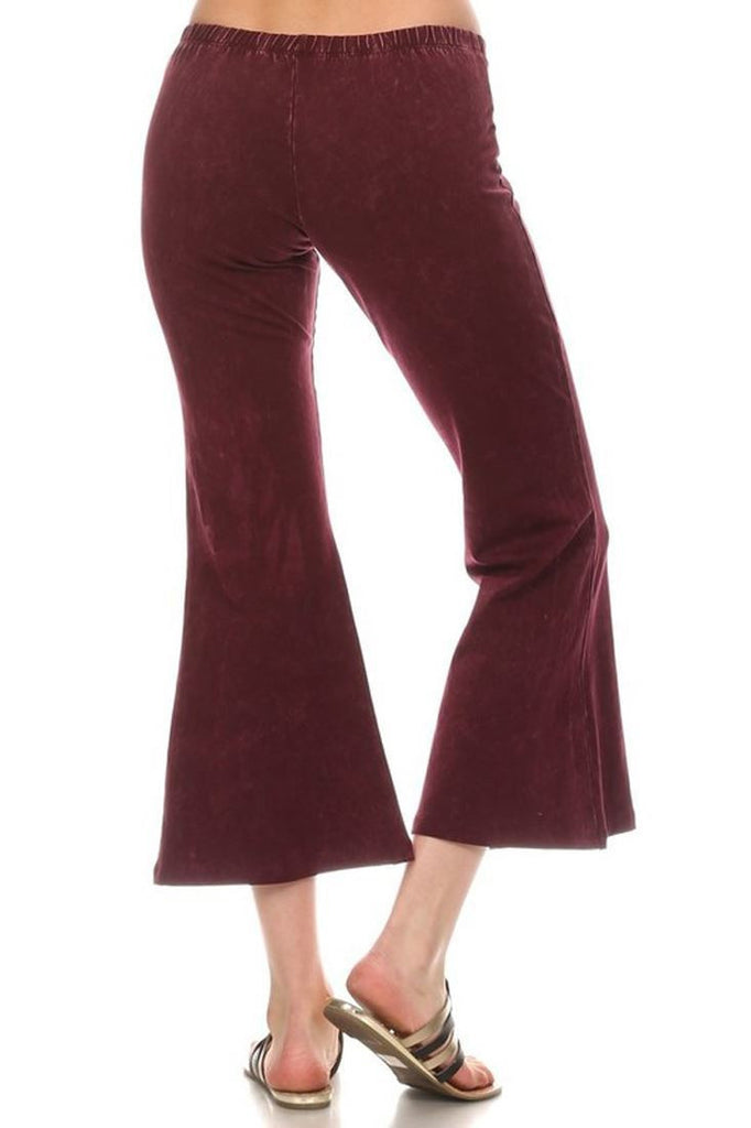 Cropped Pants High Waist Flare Denim Burgundy