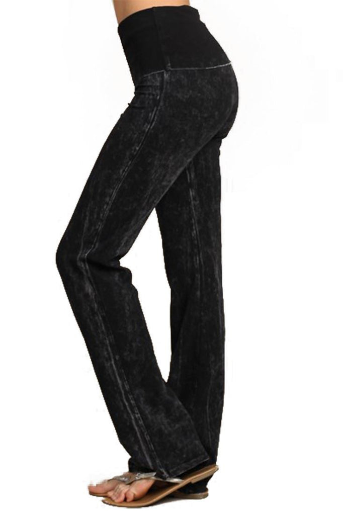Foldover Straight Leg Denim Colored Yoga Pants Black Small