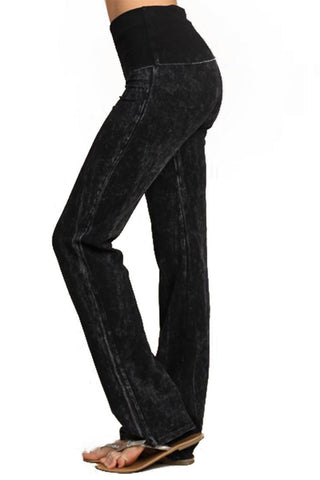 Foldover Straight Leg Denim Colored Yoga Pants Black