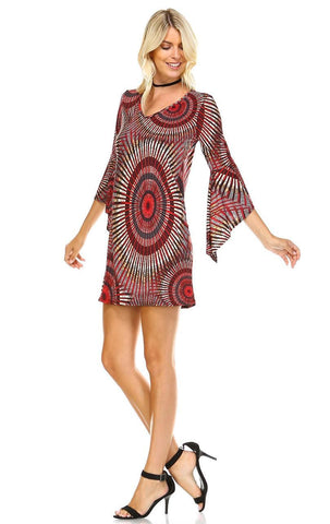 Off Shoulder Tunic Dress Circular Hippie Tie Dye Red