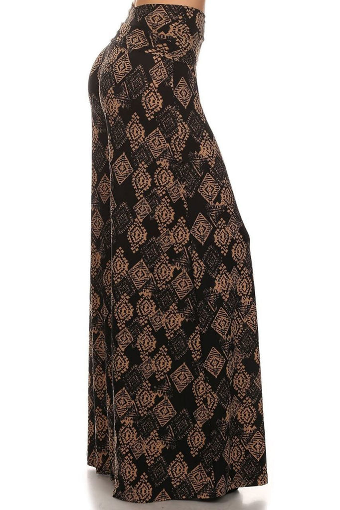 Foldover Palazzo Pants Tribal Diamond Black Brown