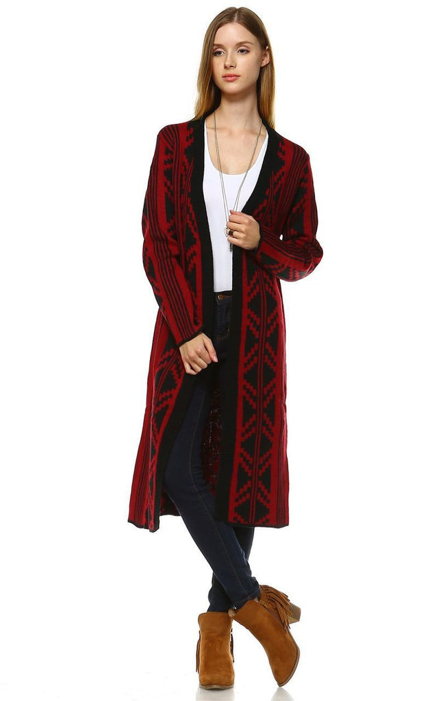 Long Trench Cardigan Tribal Sweater Geometric Burgundy Red