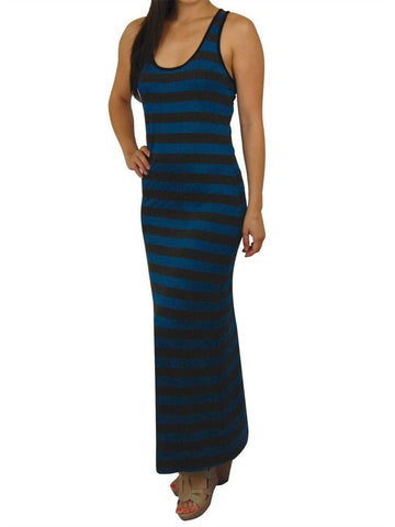 Racerback Maxi Dress Blue Charcoal Gray