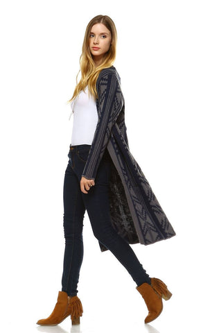 Long Trench Cardigan Tribal Sweater Geometric Navy Blue