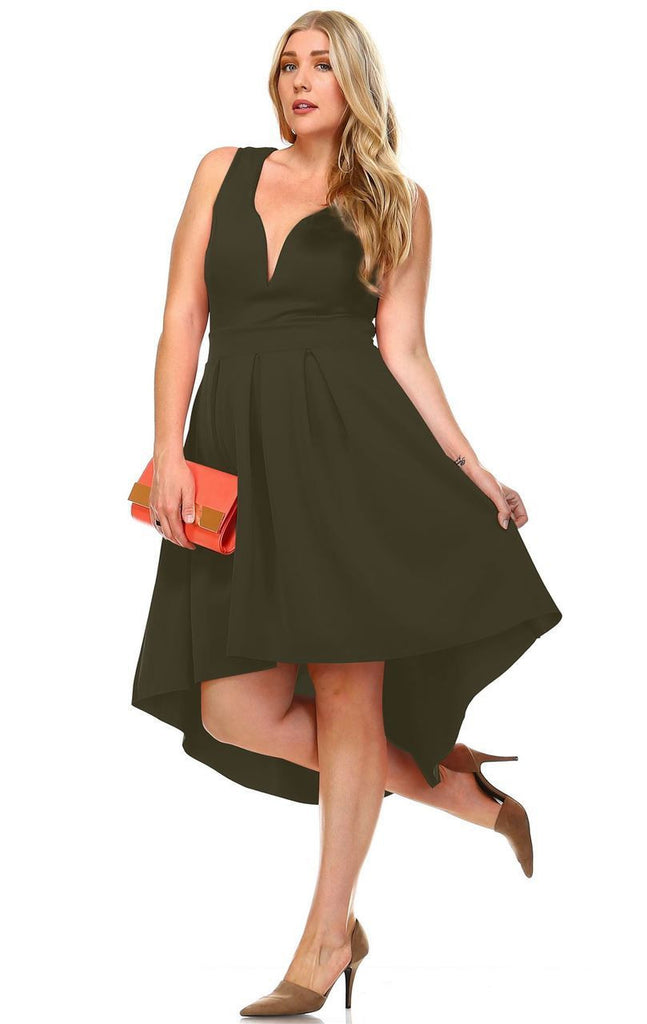 Plus Size Pleated Midi Cocktail Dress with Empire Waist Olive