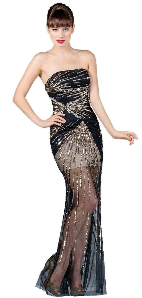 Strapless Sequin Prom Dress with Black and Gold Mesh Overlay PLUS ... bcc1cf203
