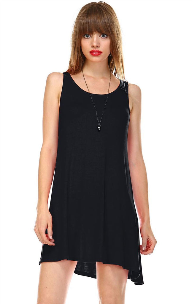 Strappy Back Dress Sleeveless Black