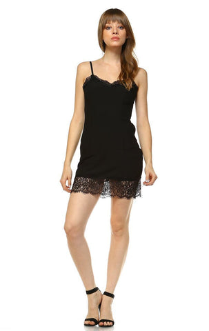 Full Slip Dress with Lace Details Black