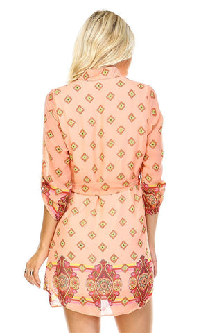 Tunic Top Blouse Pink Coral