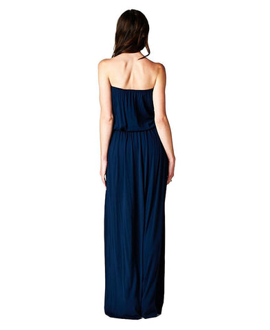 Navy Blue Strapless Maxi Dress with Elegant Crochet Chest Piece