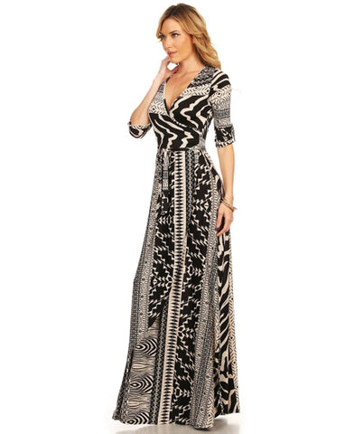 Maxi Dress with Sleeves Vertical Tribal Black Tan