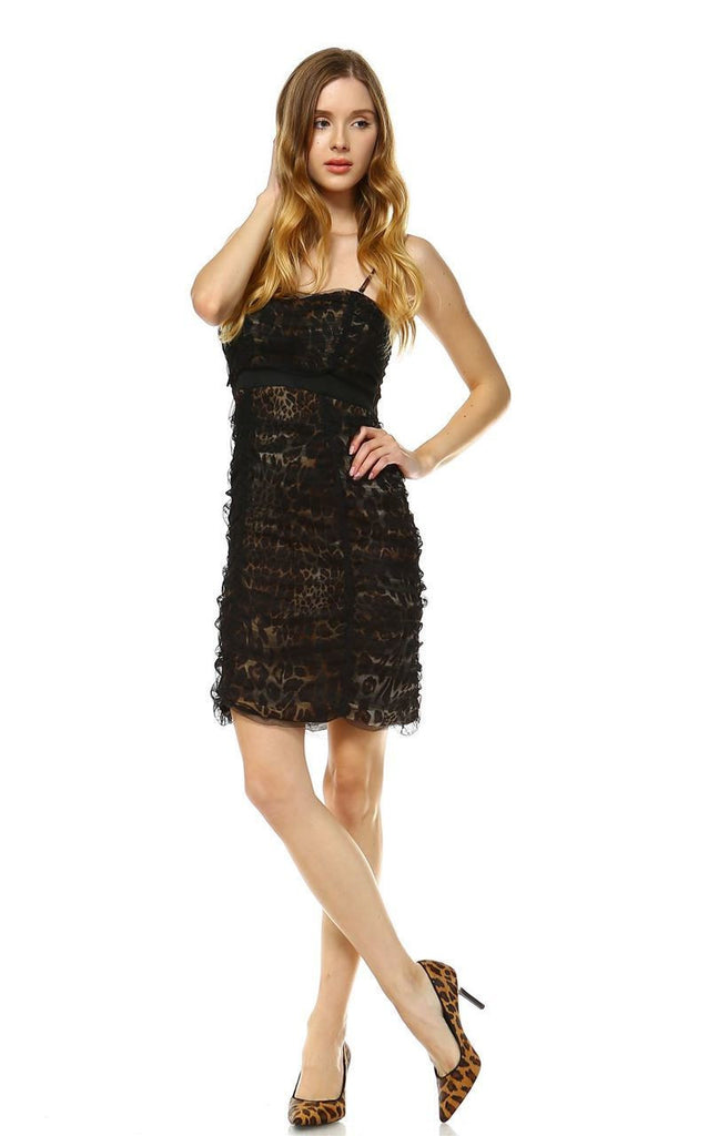 Party Cocktail Dress Strapless Lace Leopard Brown S