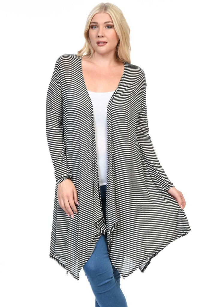 Plus Size Open Drape Flyaway Long Cardigan White Black