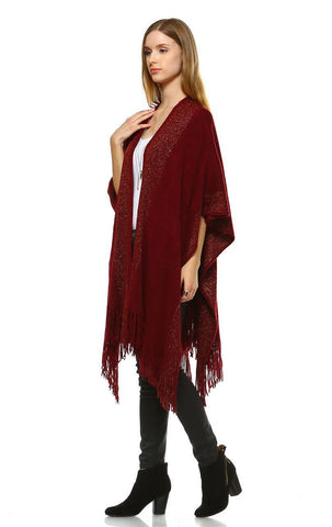 Regular and Plus Size Aztec Tribal Poncho Capes Wrap Burgundy