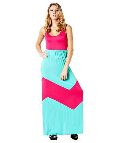 Elegant Colorblock Chevron Teal Fuchsia Racerback Maxi Dress