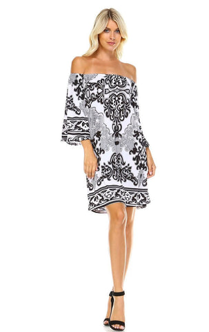 Off Shoulder Tunic Dress Black White Paisley