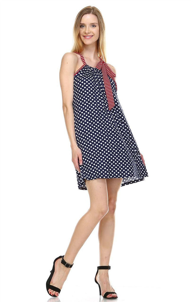 Navy Polka Dot Tunic Dress with Red Stripe Shoulder Bow