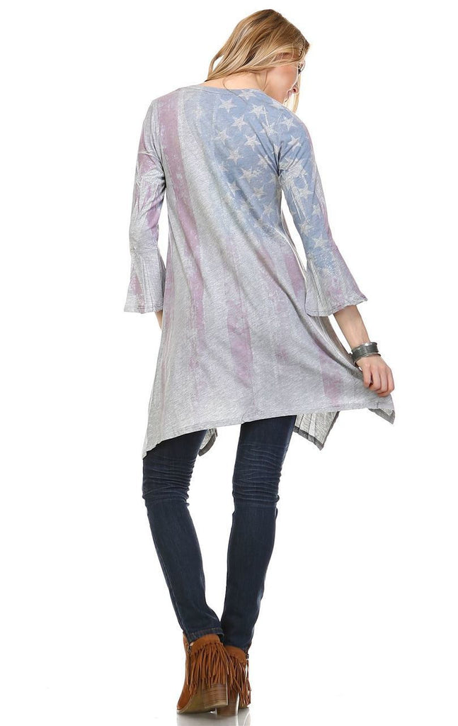 American Flag Dress Tunic Sublimation Faded Flag Gray
