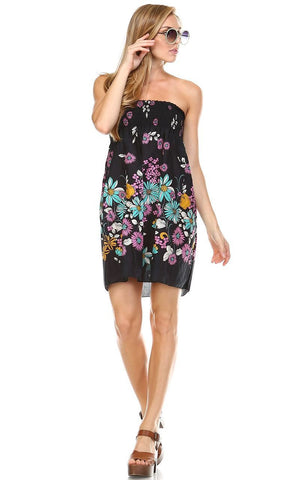 Black Windy Floral Elastic Band Top Sundress