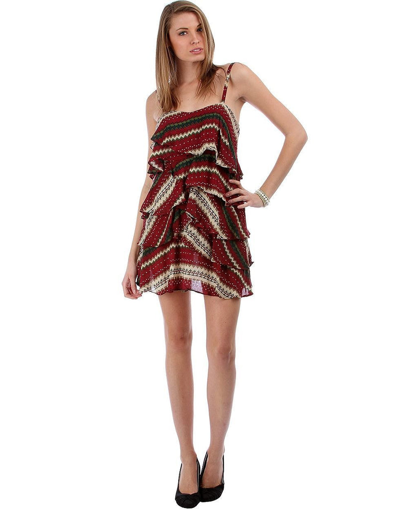 Printed Tier Layered Spaghetti Strap Tank Mini Dress Wine Red Green