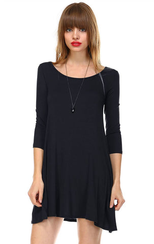 Strappy Back Dress Sleeveless and 3/4 Sleeve Black