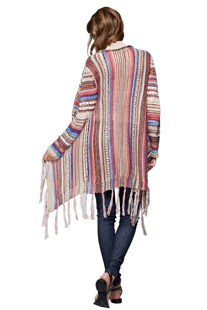 Open Front Oversized Fringe Cardigan with Multiple Stripe Tan Pink