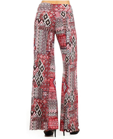 Foldover Palazzo Pants Checkered Aztec Red Pink