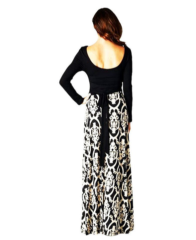 Long Sleeve Scoop Neck Black Minimalist Baroque Style Maxi Dress