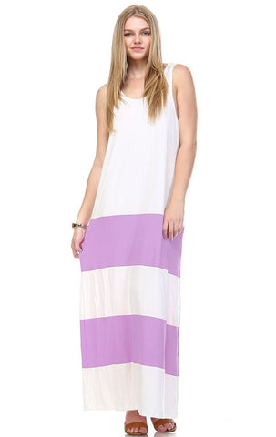 Racerback Maxi Dress Sleeveless White Lavender