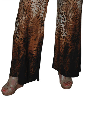 Foldover Palazzo Pants Cheetah Snake Brown