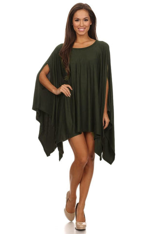 Ponchos Asymmetrical Tunic Top Olive Green One Size